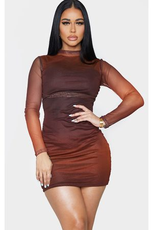 PRETTYLITTLETHING Shape Ombre Mesh Ruched High Neck Bodycon Dress