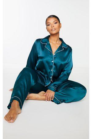 PRETTYLITTLETHING Women Pajamas - Plus Emerald Long Satin PJ Set