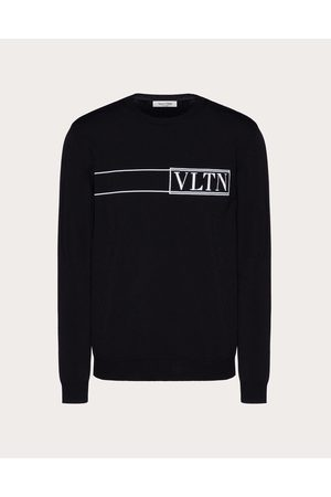 VALENTINO Crewneck Sweater With Vltn Tag Intarsia Man / Viscose 83%, Polyester 17% L