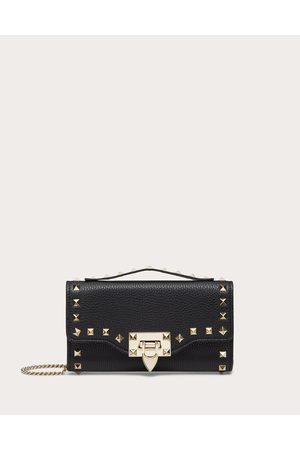 VALENTINO GARAVANI Rockstud Grainy Calfskin Wallet With Chain Strap Women 100% Pelle Di Vitello - Bos Taurus OneSize