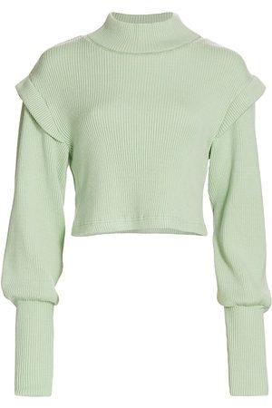 Jonathan Simkhai Standard Women's Max Puff-Sleeve Mockneck Sweater - - Size XS