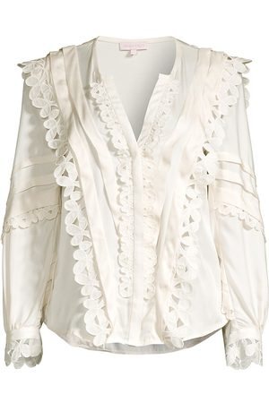 REBECCA TAYLOR Women's Embroidered Silk-Blend Blouse - - Size 0