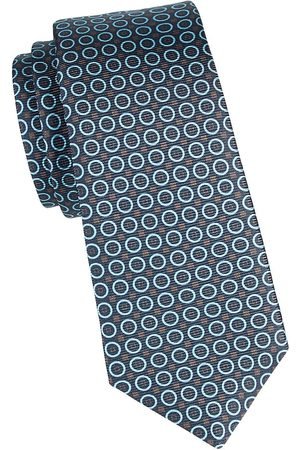 Kiton Men's Geometric-Print Silk Tie