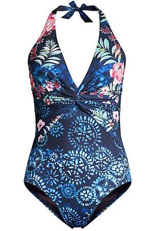 JOHNNY WAS Women's Twist Floral One-Piece Swimsuit - - Size XL