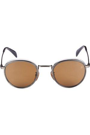 David beckham Men's 49MM Round Sunglasses - Ruthenium Grey Horn