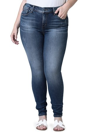 Slink Jeans Plus Women's Mid-Rise Distressed Jeggings - - Size 18W