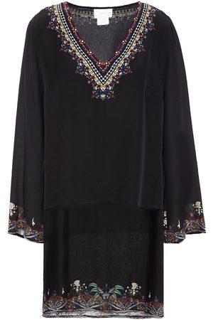 Camilla Woman Embellished Printed Silk-chiffon And Crepe De Chine Tunic Size M