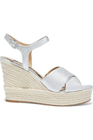 Sergio Rossi Woman Pantelleria Metallic Textured-leather Wedge Sandals Size 35.5