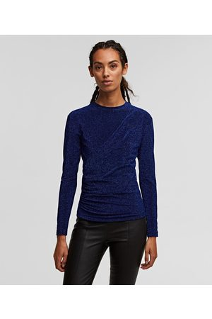 Karl Lagerfeld Women Tops - DRAPED-FRONT SPARKLE TOP