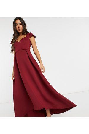 True Violet Cap sleeve sweetheart prom midaxi dress in plum