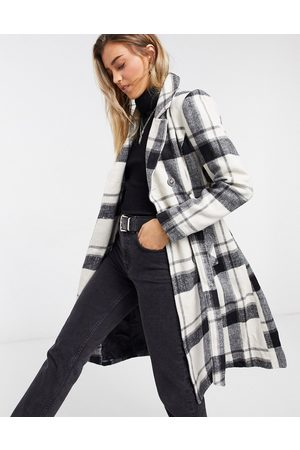 Liquorish Structured straight coat in plaid
