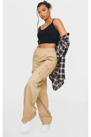 PRETTYLITTLETHING Stone Wide Leg Cargo Pants