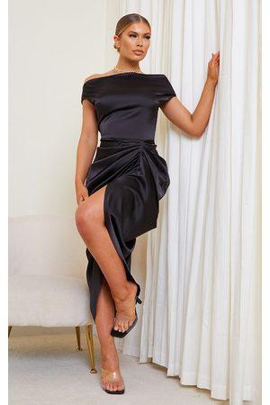 PRETTYLITTLETHING Satin Off The Shoulder Draped Skirt Midi Dress