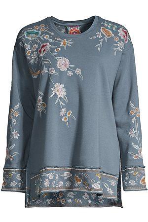 JOHNNY WAS Women's Serafina Hi-Low Embroidered Sweatshirt - - Size Medium