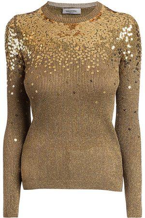 VALENTINO Women's Degradé Sequin Ribbed Sweater - - Size XS