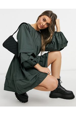 ASOS DESIGN Women Casual Dresses - Cotton poplin smock mini dress with balloon sleeves and pintucks in dark khaki