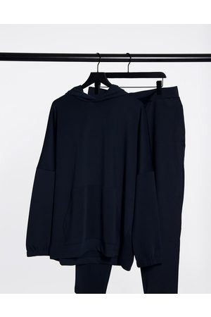 ASOS Hoodies - Oversized tracksuit with dropped shoulder hoodie in navy scuba