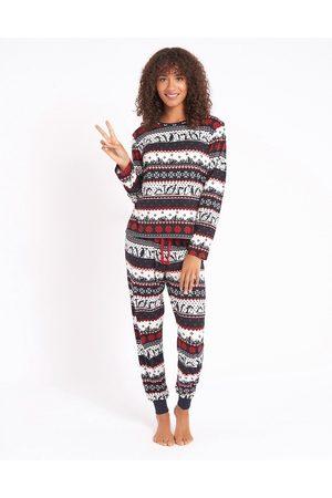 Chelsea Peers Eco poly penguin fairisle print long pajama set in navy-Multi