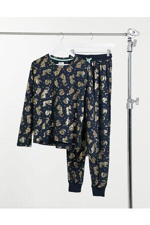 Chelsea Peers Pajamas - Eco poly foil tiger long pajama set in navy