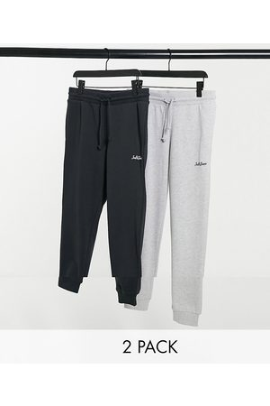 Jack & Jones Pants - Core 2-pack sweatpants with script logo in & black-Grey