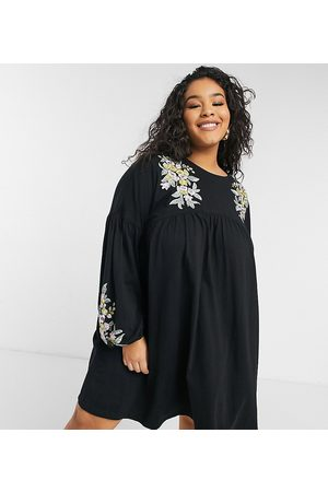ASOS Women Casual Dresses - ASOS DESIGN Curve mini smock dress with long sleeves in with yellow floral embroidery