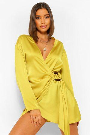 Boohoo Womens Satin Wrap Shirt Style Dress - - 4