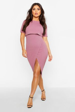 Boohoo Womens Layered Wrap Wiggle Midi Dress - - 10