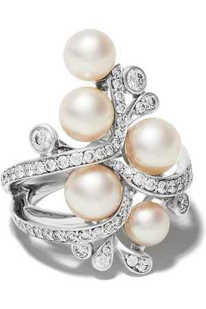 Yoko London 18kt white gold Raindrop Akoya Pearl and diamond ring - 7
