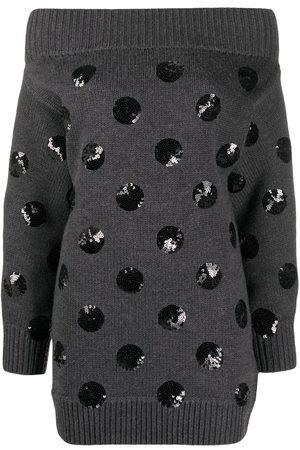 MONSE Sequin polka dot off-shoulder knit dress - Grey