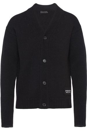 Prada Men Cardigans - Logo patch knitted cardigan