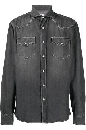 Brunello Cucinelli Spread collar denim shirt - Grey