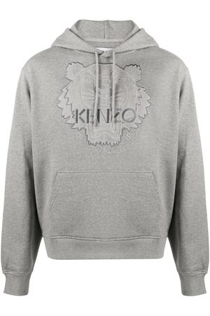 Kenzo Tiger logo embroidered hoodie - Grey