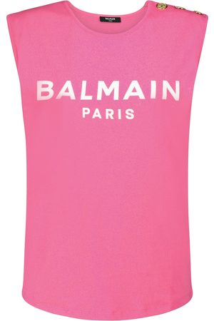 Balmain Logo cotton tank top
