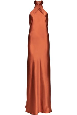 GALVAN Eve silk satin halterneck gown