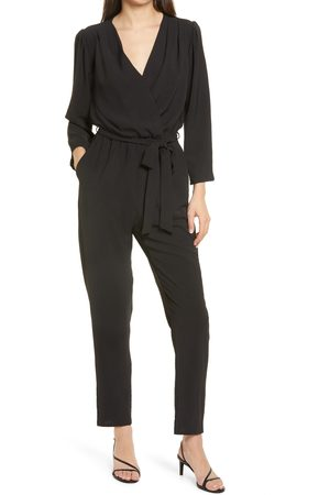 Fraiche by J Women's Long Sleeve Belted Jumpsuit
