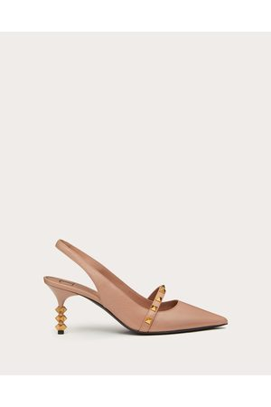 VALENTINO GARAVANI Rockstud Slingback Pump With Sculpted Heel In Kidskin 70 Mm Women Rose Cannelle Lambskin 100% 35.5