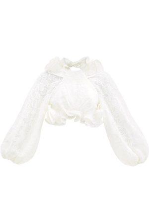 ZIMMERMANN Women Crop Tops - Lovestruck Ruffled Balloon-sleeve Lace Crop Top - Womens