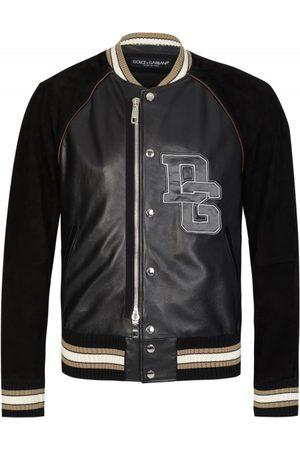 Dolce & Gabbana Applique Logo Leather Bomber