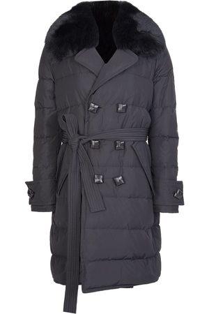Dsquared2 Women Trench Coats - Womens Fur Collar Trench Coat
