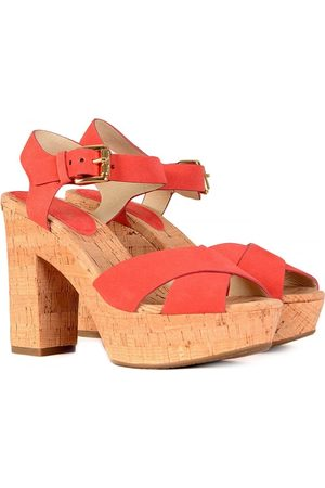 Michael Kors Women Platform Sandals - Natalia Suede Platform Coral Strap Sandal