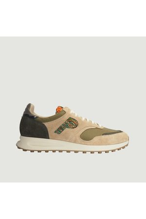 Panafrica Arusha-Sable leather and fabric running sneakers Sable suede > recycled PET