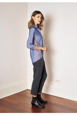 Annalise denim chambray shirt with rainbow stripe