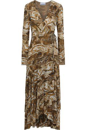 Ganni Woman Asymmetric Printed Stretch-mesh Midi Wrap Dress Animal Print Size 32
