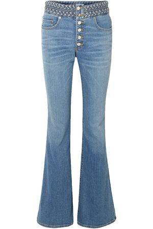 VERONICA BEARD Woman Beverly Braid-trimmed High-rise Flared Jeans Mid Denim Size 30