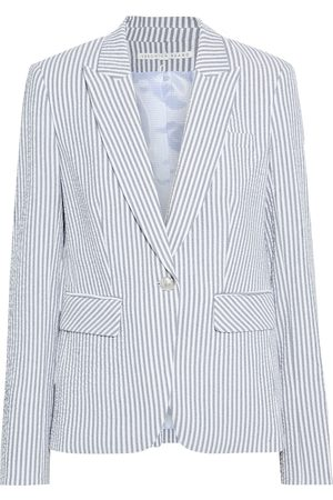 VERONICA BEARD Woman Cutaway Dickey Striped Cotton-blend Seersucker Blazer Size 0
