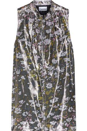 Ganni Woman Floral-print Silk-blend Lamé Top Size 32