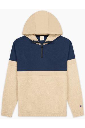 Champion Oversized Half-Zip Teddy hoodie Beige/Navy