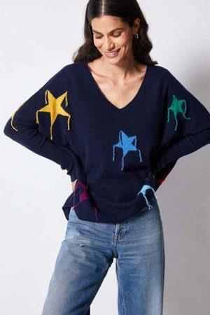 Not Shy V Neck Cashmere Star Poncho Sweater Navy ESTRELLA
