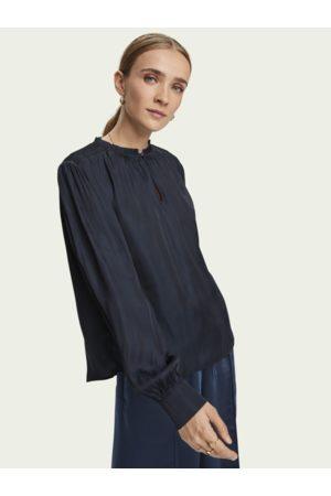Scotch&Soda Smocked shoulder long sleeve blouse