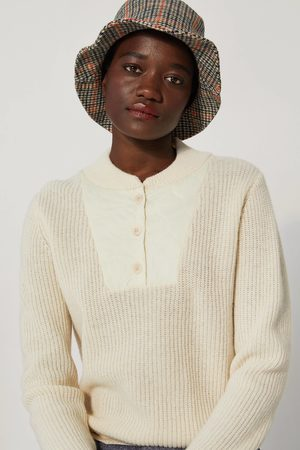LE MONT SAINT MICHEL MSM Lambswool Quilted-Neck Sweater OFF WHITE